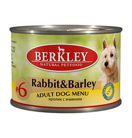 Berkley №6 Adult Rabbit & Barley / Консервы Беркли для собак Кролик с ячменем (цена за упаковку)