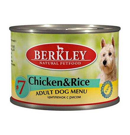 Berkley №7 Adult Chicken & Rice / Консервы Беркли для собак Цыпленок с рисом (цена за упаковку)