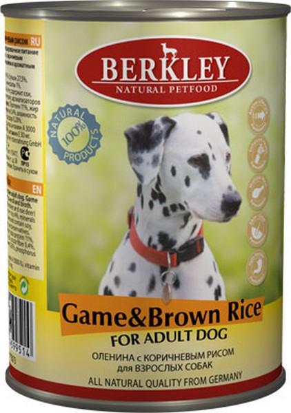 Berkley Adult Venison & Brown Rice / Консервы Беркли для собак Оленина с коричневым рисом (цена за упаковку)