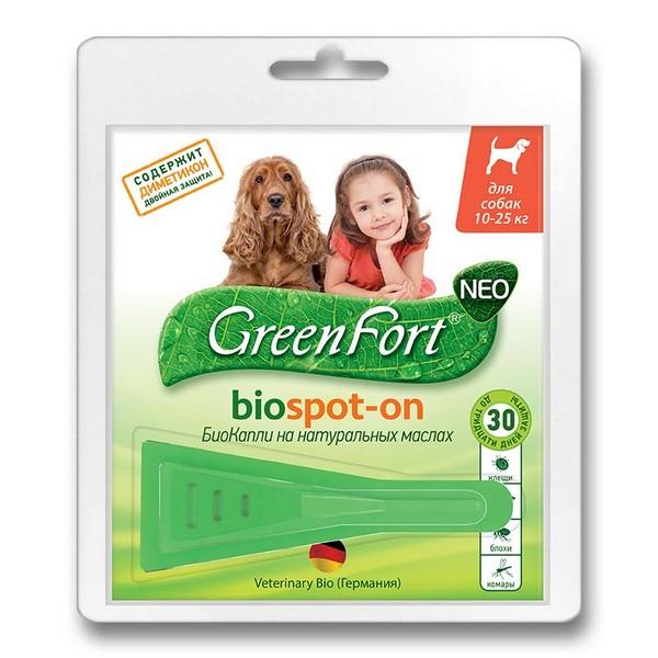 Green Fort Neo Biospot-on / БиоКапли Грин Форт Нео от Блох Клещей и Комаров для Средних собак весом 10-25кг