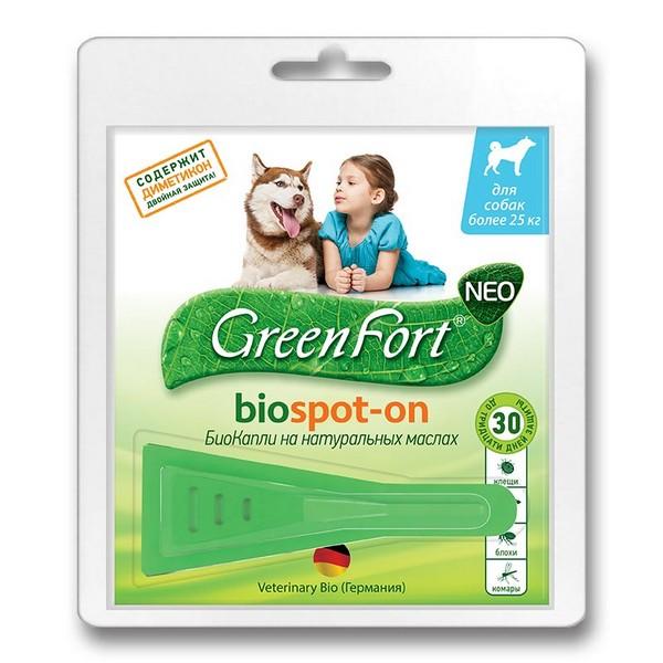 Green Fort Neo Biospot-on / БиоКапли Грин Форт Нео от Блох Клещей и Комаров для Крупных собак весом более 25кг