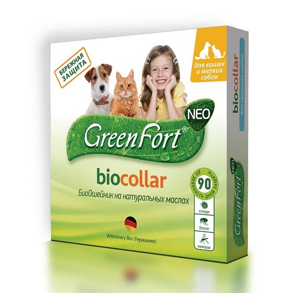 Green Fort Neo Biocollar / БиоОшейник Грин Форт Нео от Эктопаразитов для Кошек и Мелких собак