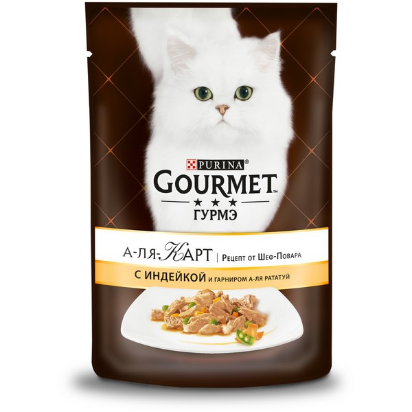 Gourmet A la Carte a la Ratatuille / Паучи Гурме А-ля Карт для кошек Индейка с зеленым горошком и морковью (цена за упаковку)