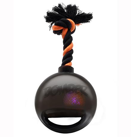 Hagen Bomber / Игрушка Хаген для собак  Мяч светящийся с ручкой на веревке Черный