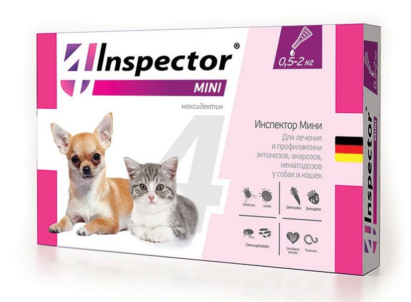 Inspector Мини / Капли Инспектор от Внешних и Внутренних паразитов для кошек и собак весом от 0,5 до 2 кг