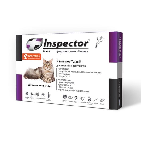 Inspector Тотал К / Капли Инспектор от Внешних и Внутренних паразитов для кошек весом от 8 до 15 кг