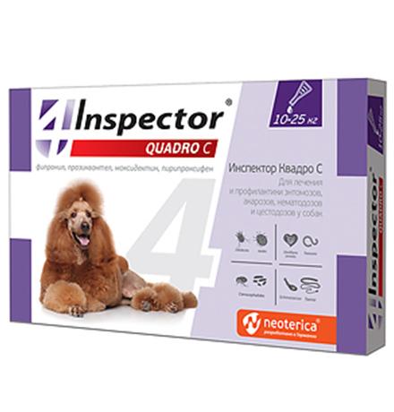 Inspector Quadro С / Капли Инспектор от Внешних и Внутренних паразитов для собак весом от 10 до 25 кг