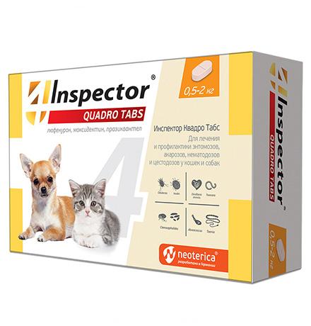 Inspector Quadro Tabs / Таблетки Инспектор от Внешних и Внутренних паразитов для кошек и собак весом от 0,5 до 2 кг