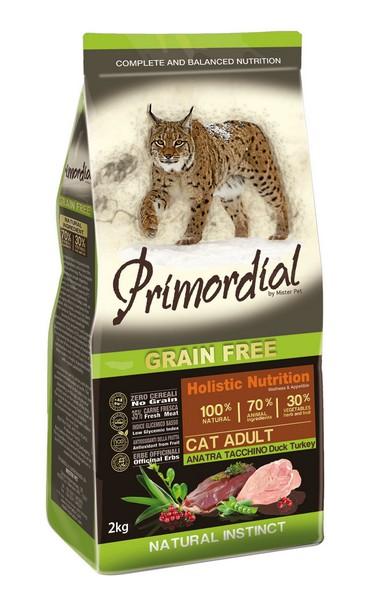 Primordial Adult Grain Free Holistic / Сухой корм Примордиал Беззерновой для кошек Утка Индейка