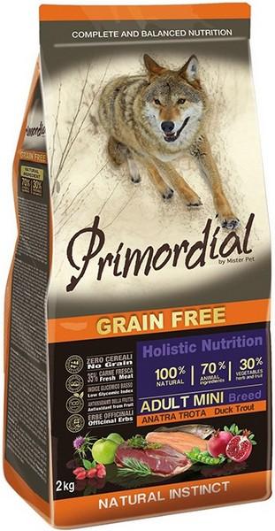 Primordial Adult Mini Grain Free Holistic / Сухой корм Примордиал Беззерновой для собак Мелких пород Форель Утка
