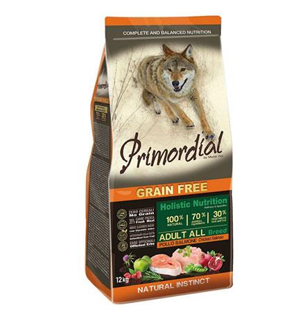 Primordial Adult Grain Free Holistic / Сухой корм Примордиал Беззерновой для собак Курица Лосось