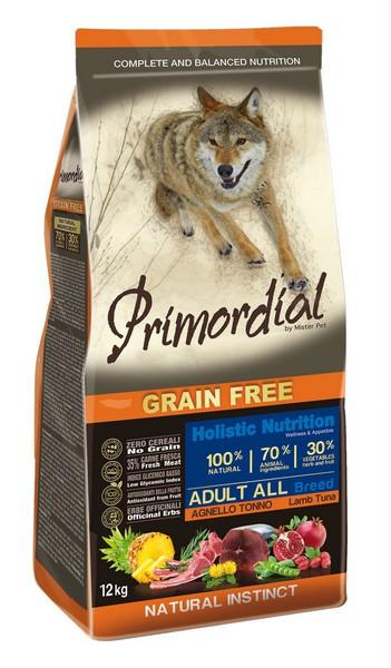 Primordial Adult Grain Free Holistic / Сухой корм Примордиал Беззерновой для собак Тунец Ягненок