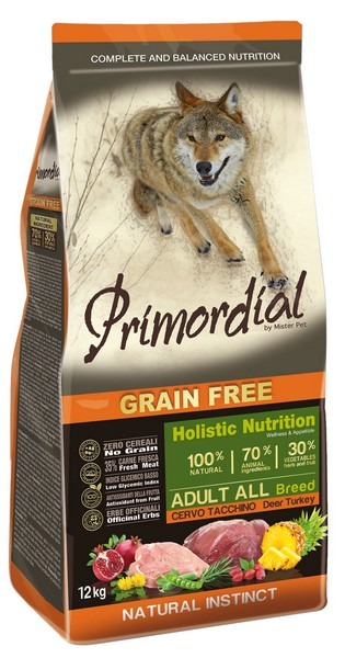 Primordial Adult Grain Free Holistic / Сухой корм Примордиал Беззерновой для собак Оленина Индейка