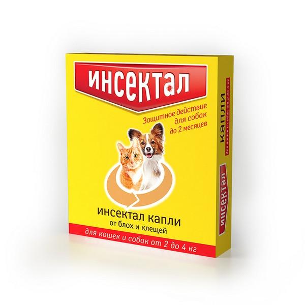 Инсектал / Капли от Блох и Клещей для кошек и собак весом 2-4 кг