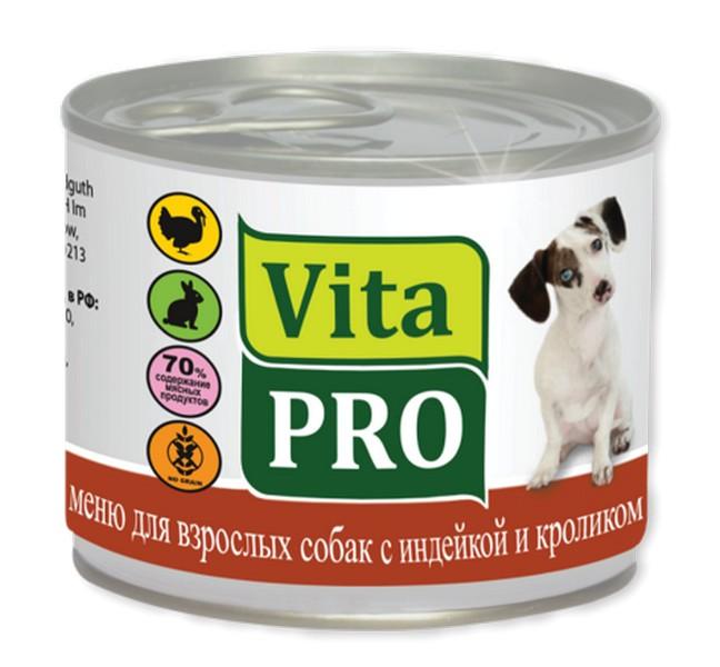 Vita Pro / Консервы Вита Про для собак от 1 года Индейка Кролик (цена за упаковку)