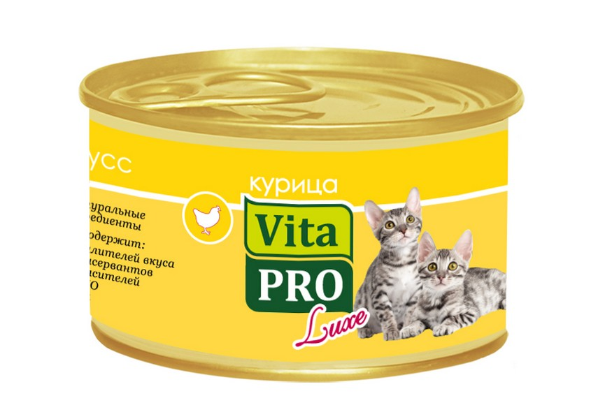 Vita Pro Luxe / Консервы Вита Про для Котят до 1 года Мусс Курица (цена за упаковку)