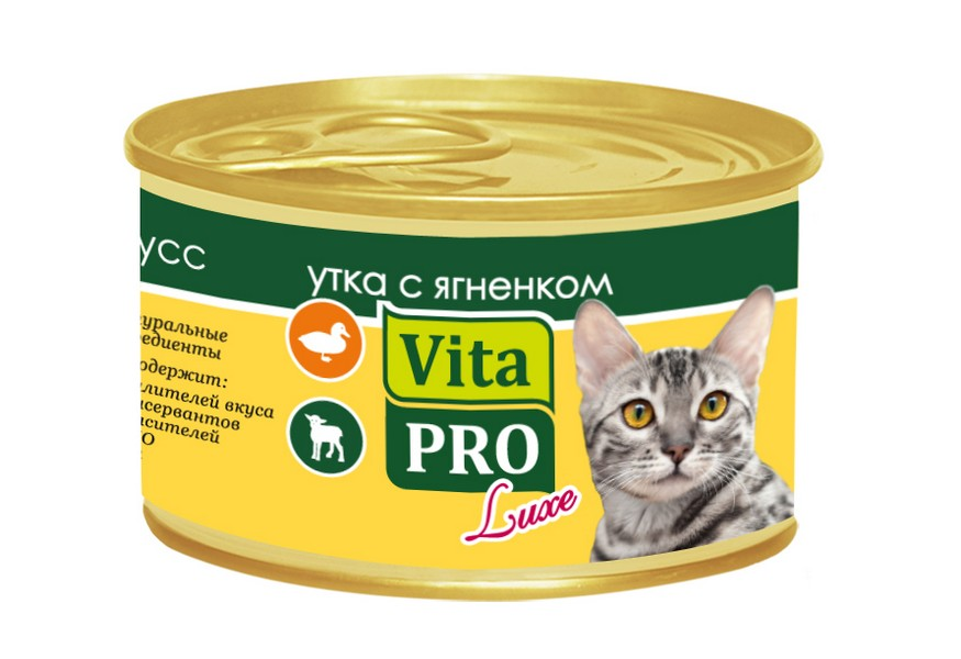 Vita Pro Luxe / Консервы Вита Про для кошек от 1 года Мусс Утка Ягненок (цена за упаковку)
