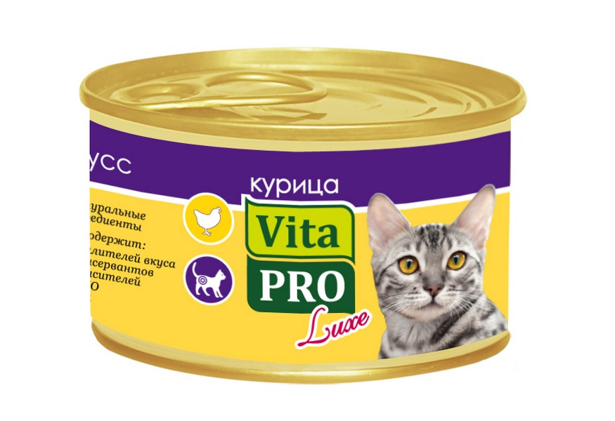 Vita Pro Luxe / Консервы Вита Про для кошек от 1 года Мусс Курица (цена за упаковку)
