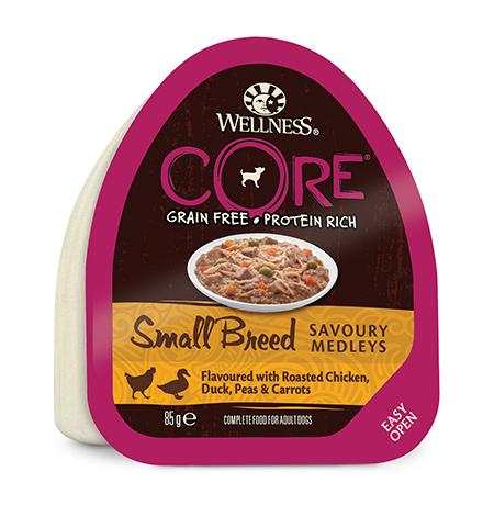 Wellness Core Dog Small Breed Savoury Medleys Chicken Duck / Консервы Велнес Кор для собак Мелких пород Курица Утка запеченая с горошком и морковью (цена за упаковку)