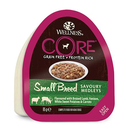 Wellness Core Dog Small Breed Savoury Medleys Lamb Venison / Консервы Велнес Кор для собак Мелких пород Баранина Оленина тушеная с белым сладким картофелем и морковью (цена за упаковку)