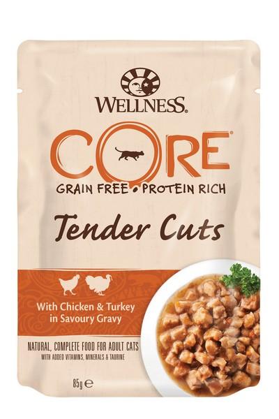 Wellness Core Cat Tender Cuts Chicken & Turkey / Паучи Велнес Кор для кошек Нежные кусочки Курицы и Индейки в пикантном соусе (цена за упаковку)
