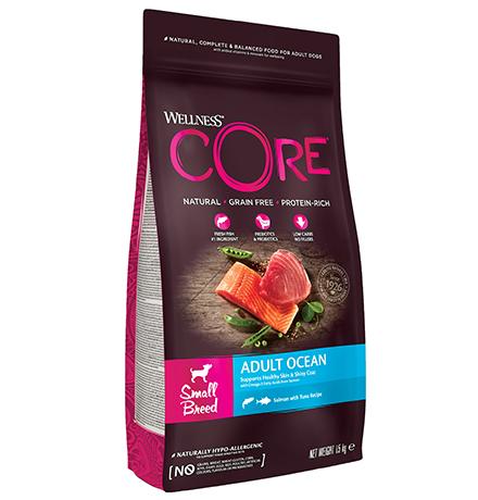 Wellness Core Adult Small Breed Ocean Grain free Salmon Tuna / Сухой Беззерновой корм Велнес Кор для собак Мелких пород Лосось с Тунцом