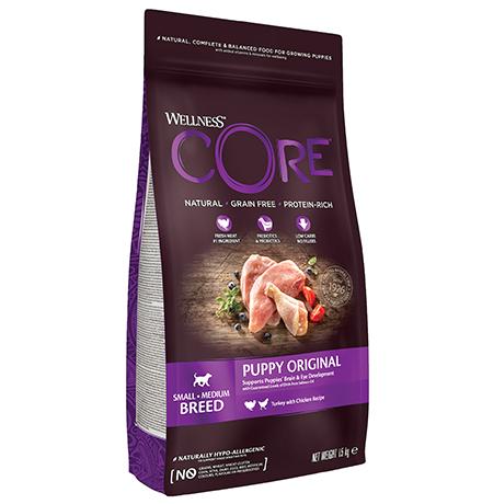 Wellness Core Puppy Original Small Breed Grain free Turkey Chicken / Сухой Беззерновой корм Велнес Кор для Щенков Мелких и Средних пород Индейка с Курицей