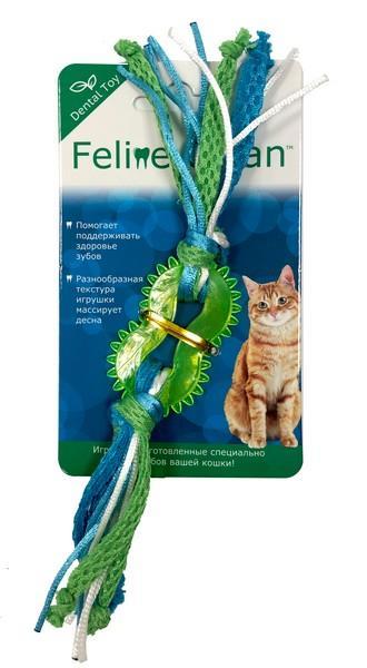 Aromadog Feline Clean Dental / Игрушка Фелин Клин для кошек Колечко прорезыватель с лентами Резина