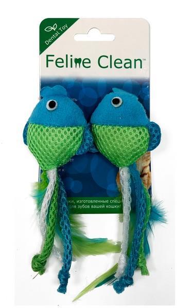 Aromadog Feline Clean Dental / Игрушка Фелин Клин для кошек Рыбки ленты и перья 1х2шт