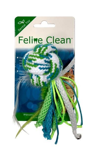 Aromadog Feline Clean Dental / Игрушка Фелин Клин для кошек Мячик из каната ленты и перьев