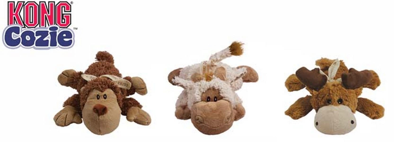 Kong Cozie Natura / Игрушка Конг для собак в ассортименте Обезьянка Барашек Лось Плюш