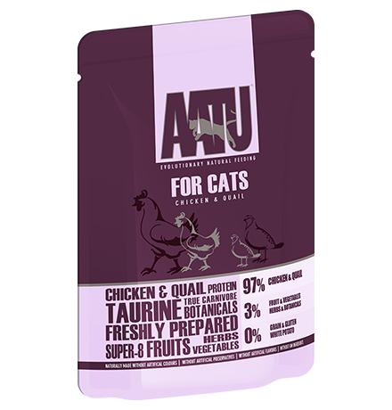 AATU for Cats Chicken & Quail / Паучи Аату для взрослых кошек Курица и Перепел (цена за упаковку)