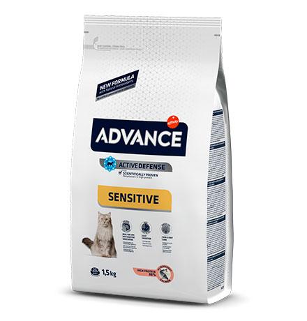 Advance Adult Salmon Sensitive / Сухой корм Адванс для взрослых кошек с Чувствительным пищеварением Лосось рис