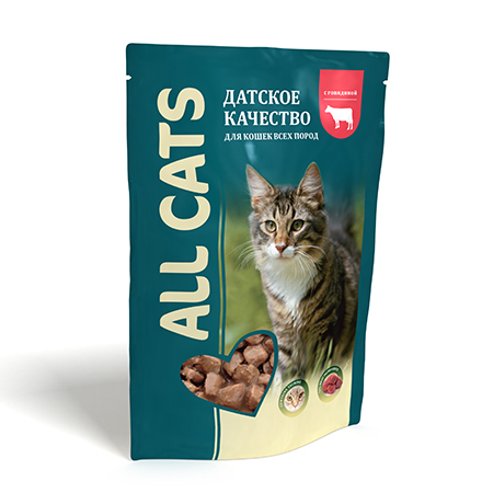 All Cats / Паучи Ол Кэтс для кошек Говядина в соусе (цена за упаковку)