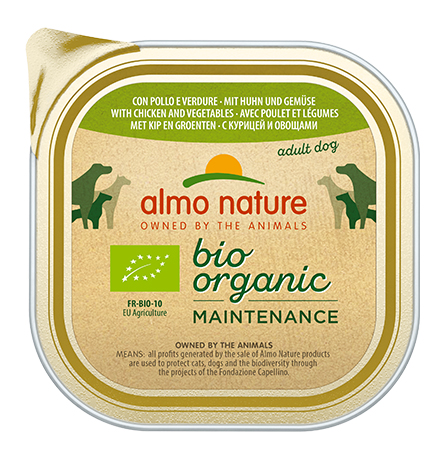 Almo Nature Daily Menu Bio Pate Chicken & Vegetables / Паштет Алмо Натюр для собак Био-меню с Курицей и овощами (цена за упаковку)