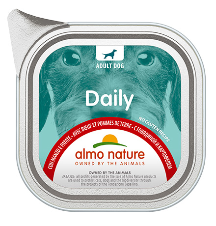 Almo Nature Daily Menu Beef and Potatoes / Консервы Алмо Натюр для собак Меню с Говядиной и картофелем (цена за упаковку)