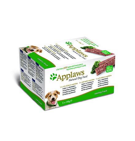 Applaws Pate Country Fresh Chicken Lamb Salmon / Паштет Эплоус для собак Ассорти Курица Ягненок Лосось (цена за упаковку)