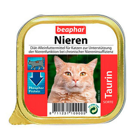 Beaphar Nieren Taurin / Полнорационный диетический корм Беафар Паштет с Курицей обогащенный Таурином для кошек с почечной недостаточностью