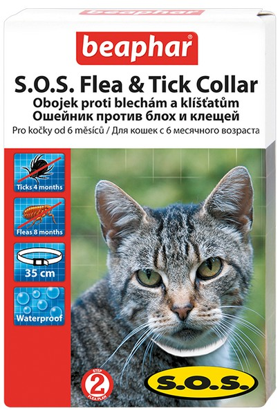 Beaphar S.O.S. Flea&Tick / Ошейник Беафар от Блох (8 мес) и Клещей (4 мес) 35 см для кошек с 6 месяцев