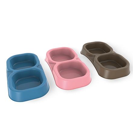 Bama Pet / Миска Бама Пет Пластиковая Двойная Голубая
