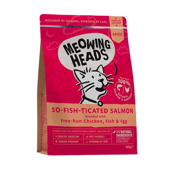 Meowing Heads So-fish-ticated Salmon / Сухой корм Меовинг Хэдс для взрослых кошек 'Фиш-гурман' Лосось курица рис