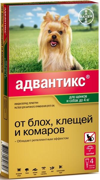Bayer Адвантикс 40C / Капли на холку от Блох, Клещей и Комаров для Щенков и собак весом до 4 кг