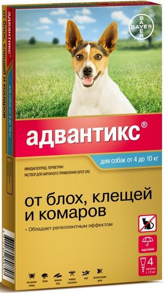 Bayer Адвантикс 100С / Капли на холку от Блох, Клещей и Комаров для собак весом 4-10 кг