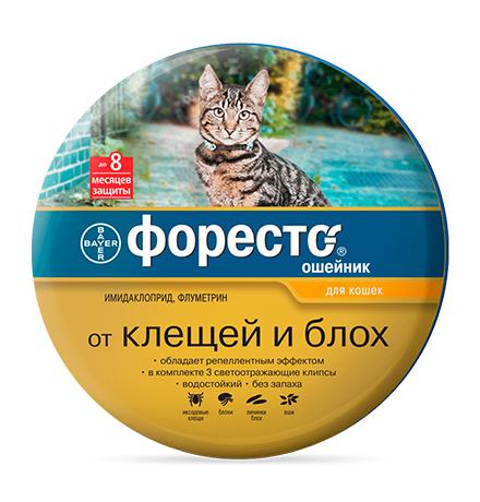 Bayer Форесто / Ошейник от Клещей, Блох и Вшей для кошек
