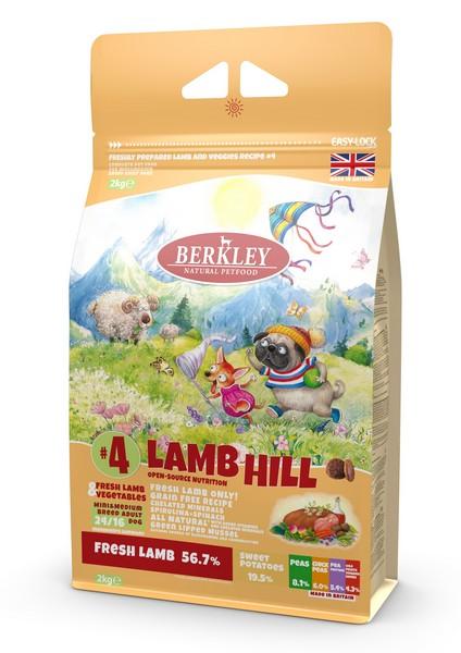 Berkley Mini & Medium Adult Lamb Hill №4 /  Сухой Монопротеиновый Беззерновой корм Беркли для взрослых собак Мелких и Средних пород Ягненок с Овощами Фруктами и Ягодами