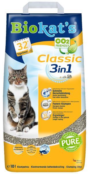 Biokats Classic 3in1 / Комкующийся наполнитель Биокэтс для кошачьего туалета