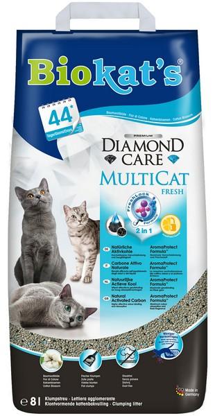 Biokats Diamond Care MultiCat Fresh 2in1 / Комкующийся наполнитель Биокэтс для нескольких кошек в доме