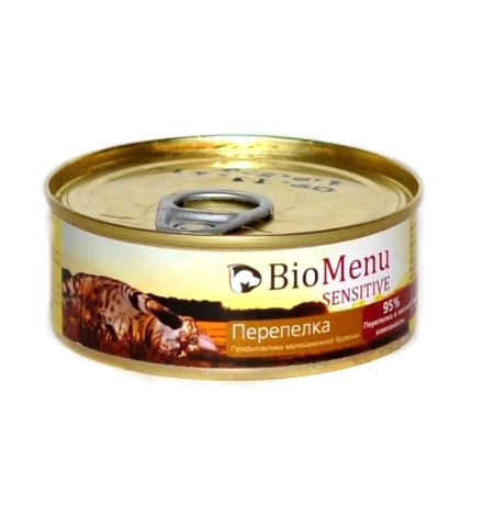 BioMenu Sensitive Консервы для Кошек мясной паштет с Перепелкой