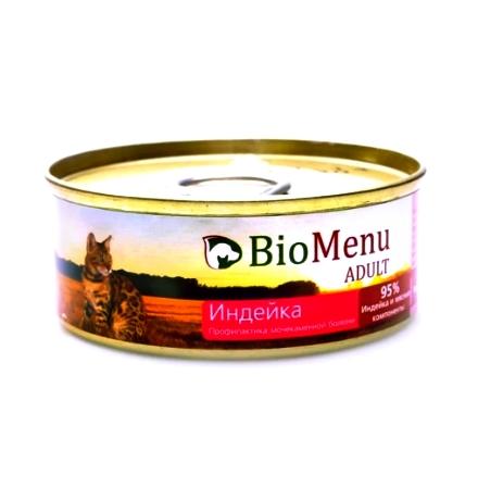 BioMenu Adult Консервы для Кошек мясной паштет с Индейкой