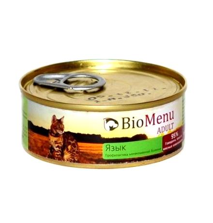 BioMenu Adult Консервы для Кошек мясной паштет с Языком